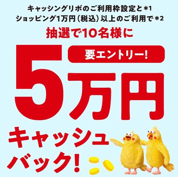 dカードキャッシングリボ1万円以上利用で最大5万円キャッシュバック
