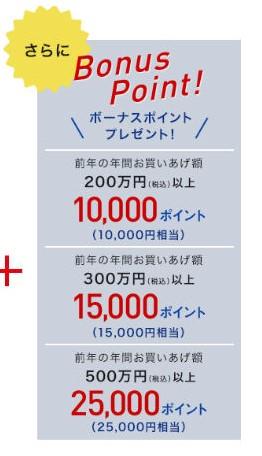 エムアイカードプラスゴールドのボーナスポイント(年間累計利用額)